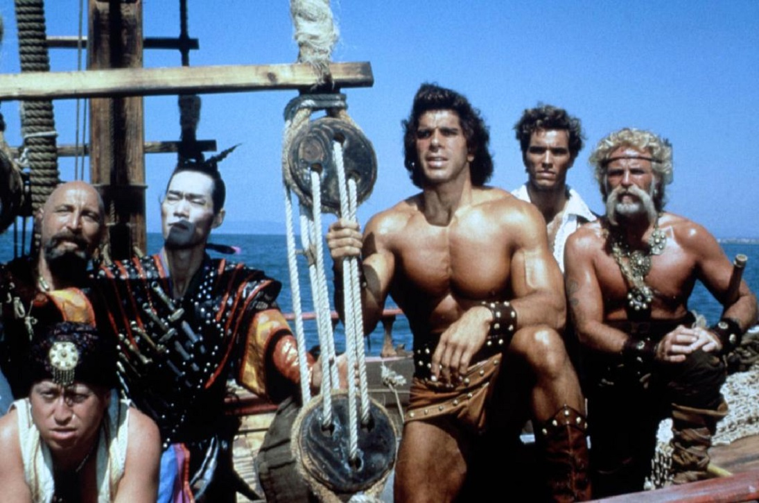 Sinbad and his crew - Cork Hubbert, Yehuda Efroni, Haruhiko Yamanouchi, Lou Ferrigno, Roland Wybenga and Enzo Girolami in Sinbad of the Seven Seas (1989)