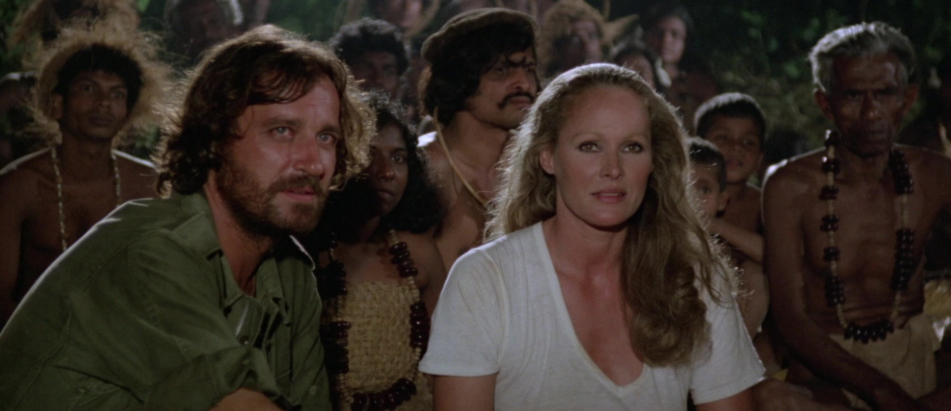 Antonio Marsina and Ursula Andress among the native tribes in Slave of the Cannibal God (1978)