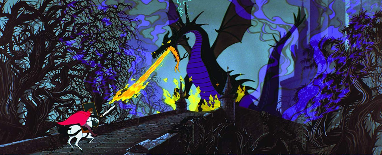 Prince Phillip fights his way through the forest of thorns to tackle the dragon in Sleeping Beauty (1959)