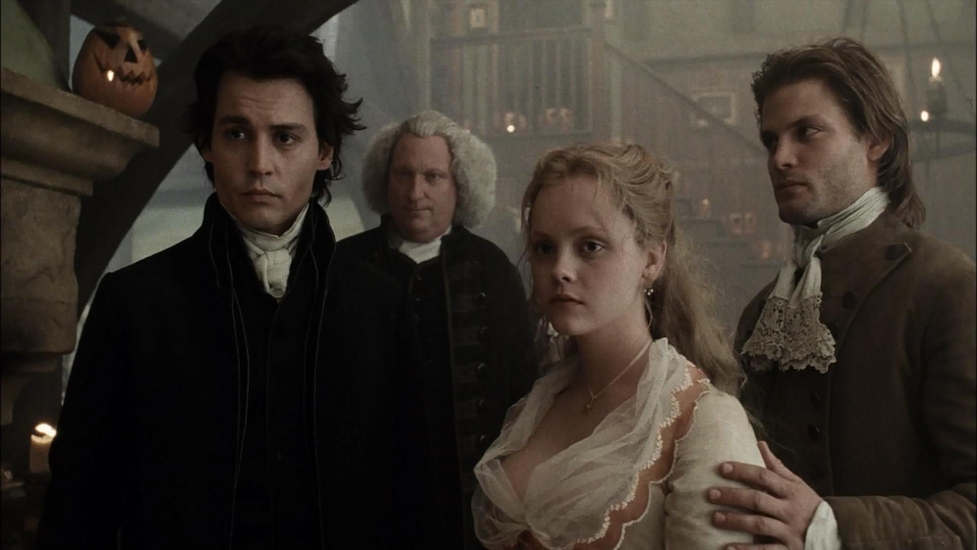 (l to r) Ichabod Crane (Johnny Depp), Reverend Steenwyck (Jeffrey Jones), Katrina Van Tassel (Christina Ricci) and Brom Brunt (Casper Van Dien) in Sleepy Hollow (1999)
