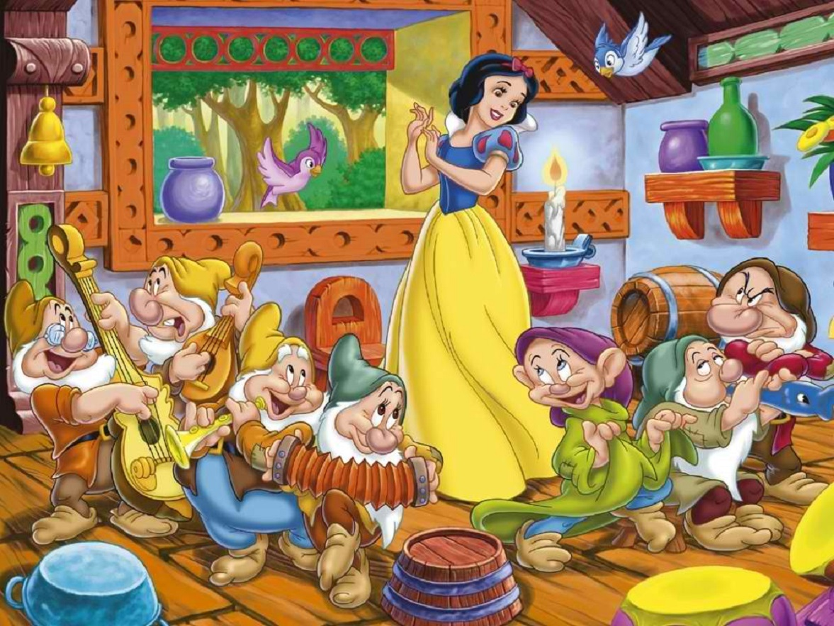 Snow White and the seven dwarves in Snow White and the Seven Dwarfs (1937)