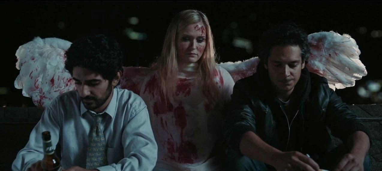 Javid (Reza Brojerdi) and Tan (Erkan Acar) with the angel Snowflake (Judith Hoersch) in Snowflake (2017)