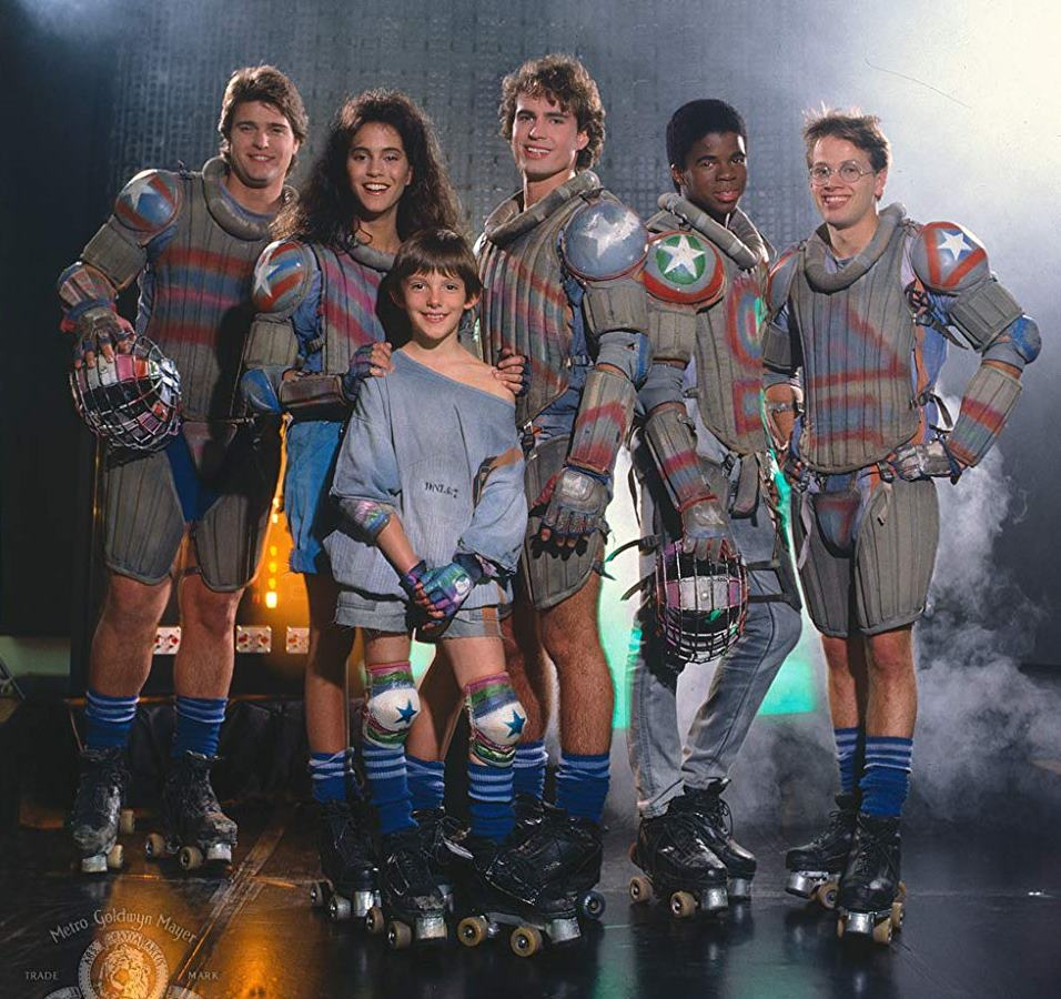 The Solarbabies - (l to r) Peter DeLuise, Jami Gertz, Lukas Haas, Jason Patric, Claude Brooks and James Le Gros in Solarbabies (1986)