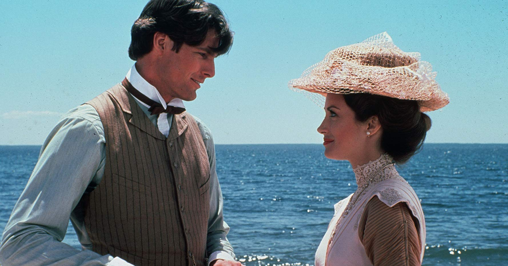 Modern playwright Richard Collier (Christopher Reeve) travels back in time to romance Elise McKenna (Jane Seymour) in Somewhere in Time (1980)