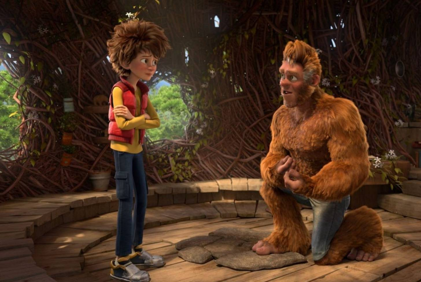Adam (voiced by Pappy Faulkner) and his father (voiced by Chris Parson) in The Son of Bigfoot (2017)