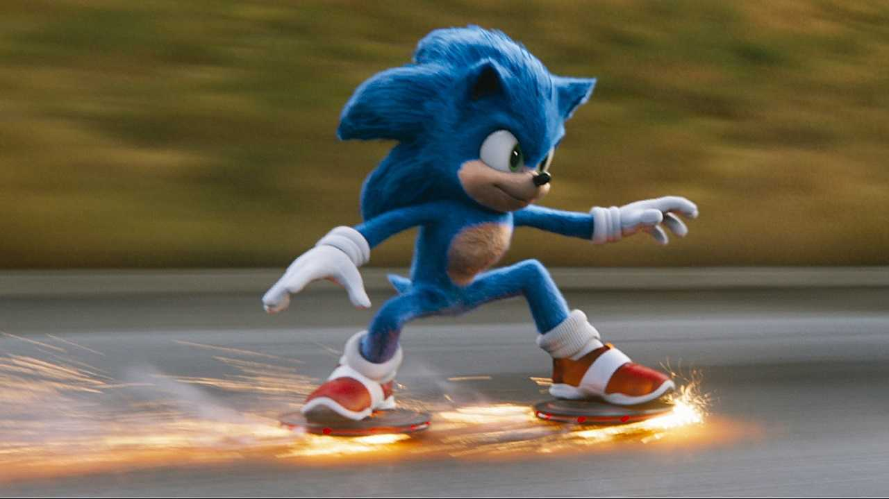 Sonic the Hedgehog in action in Sonic the Hedgehog (2020)