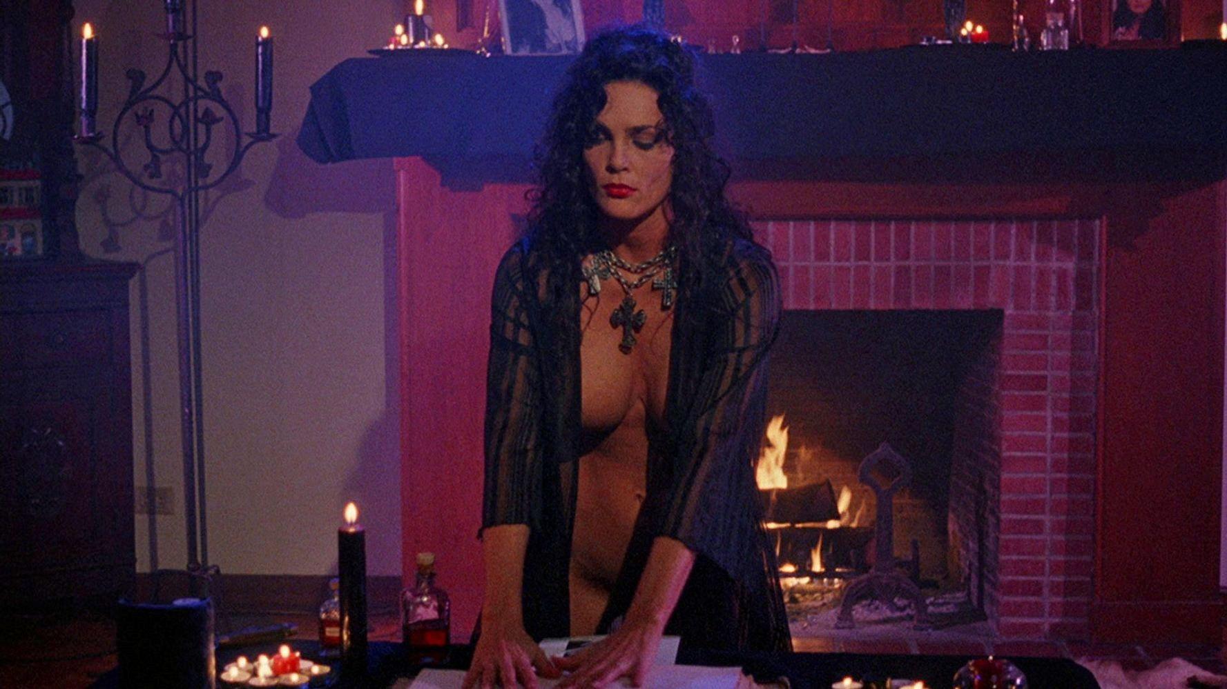 Julie Strain conducts a ritual in Sorceress (1995)