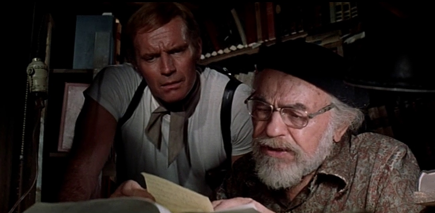 Charlton Heston, Edward G. Robinson in Soylent Green (1973)