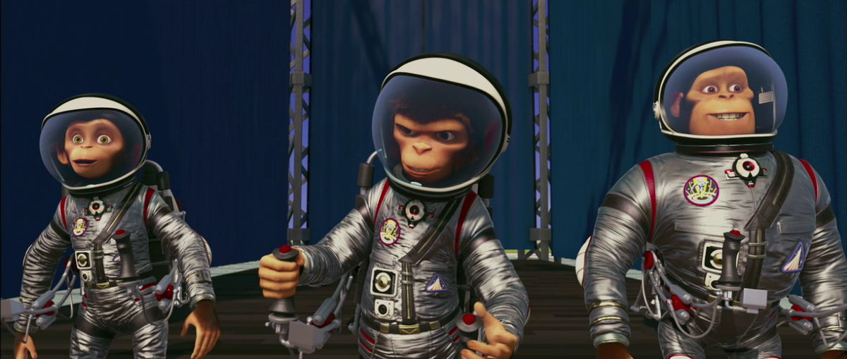 The animated adventures of talking NASA space chimpanzees in Space Chimps (2008)