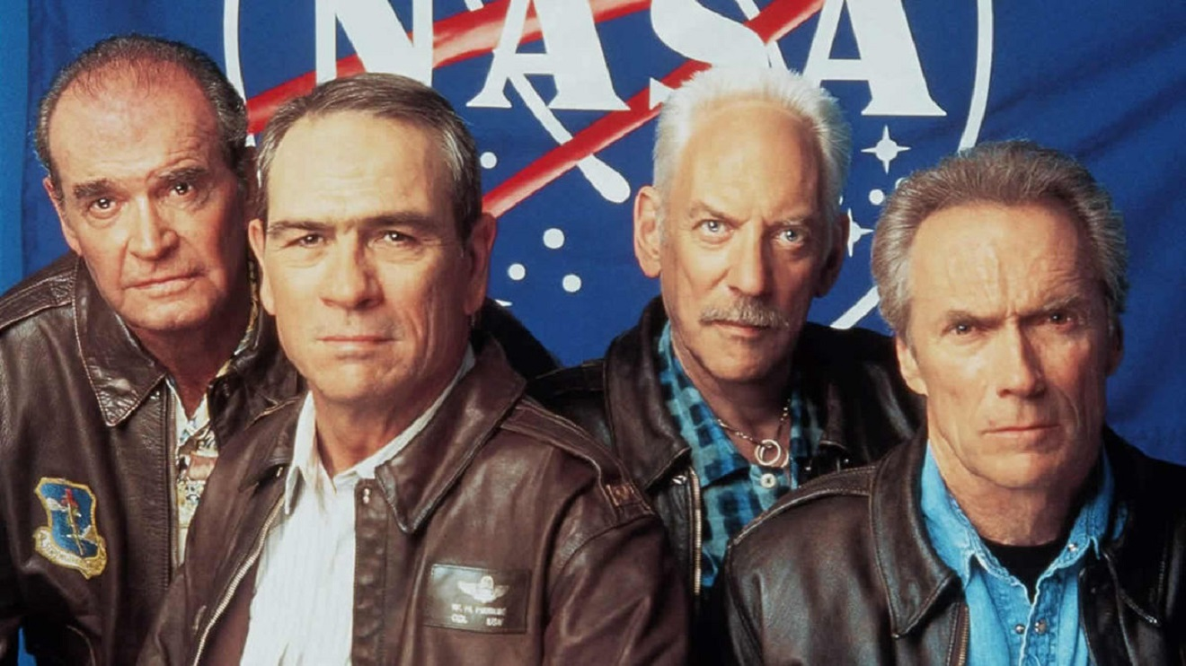 NASA astronauts reunited after forty years for one last mission back into space - (l to r) James Garner, Tommy Lee Jones, Donald Sutherland and Clint Eastwood in Space Cowboys (2000)