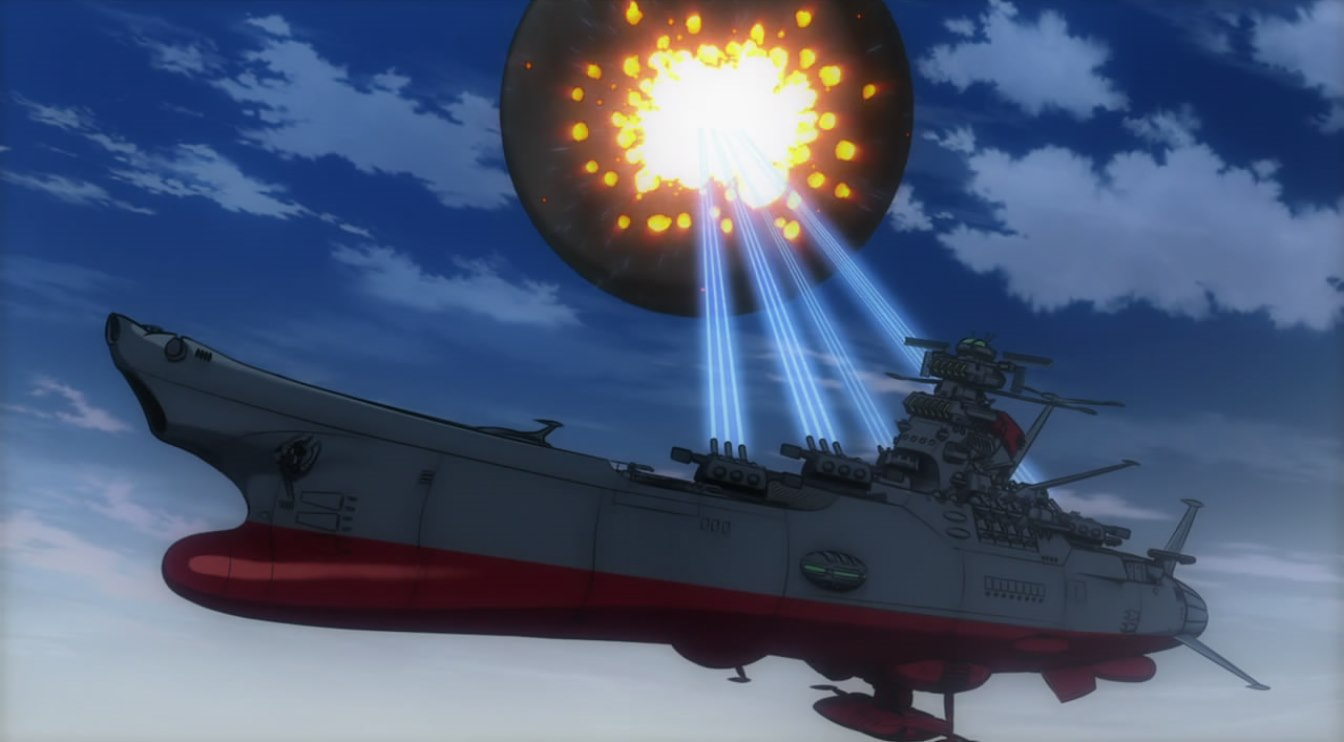 The resurrection of the battleship Yamato as a space cruiser in Space Cruiser Yamato (1977)