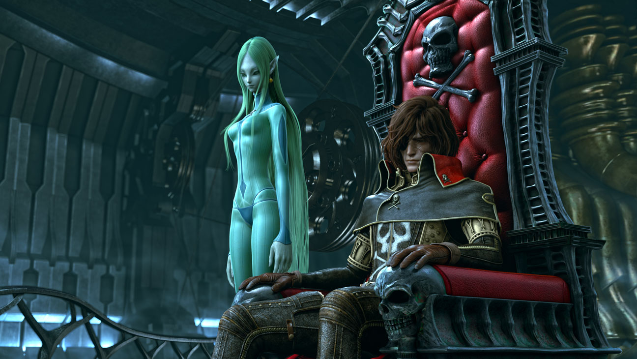 Captain Harlock and the alien Miime in Space Pirate Captain Harlock (2013)