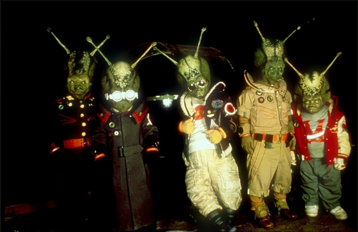 Bumbling Martian invaders in Spaced Invaders (1990)