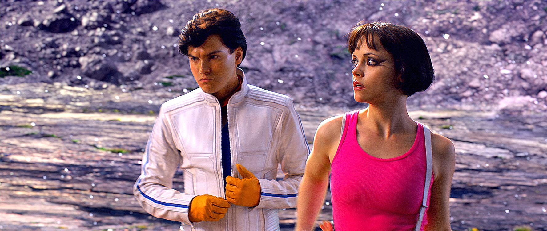 Speed Racer (Emile Hirsch) and Trixie (Christina Ricci) in Speed Racer (2008)
