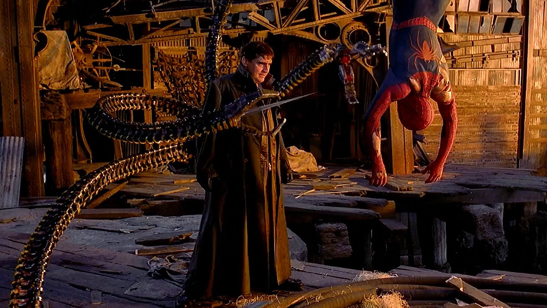 Dr Octopus (Alfred Molina) holds Spider-Man (Tobey Maguire) captive in Spider-Man 2 (2004)