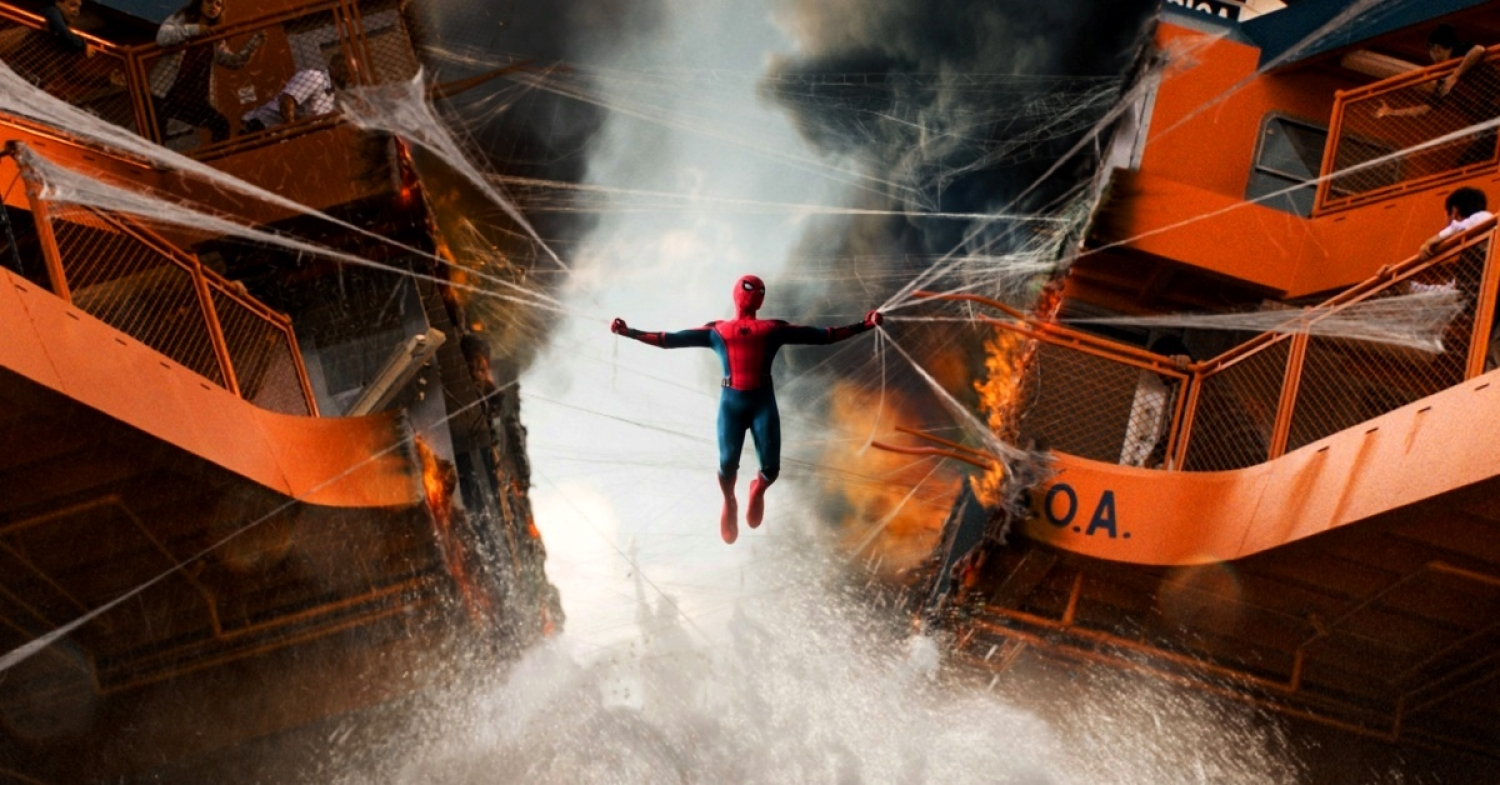 Spider-Man holds the collapsing Staten Island Ferry together in Spider-Man: Homecoming (2017)