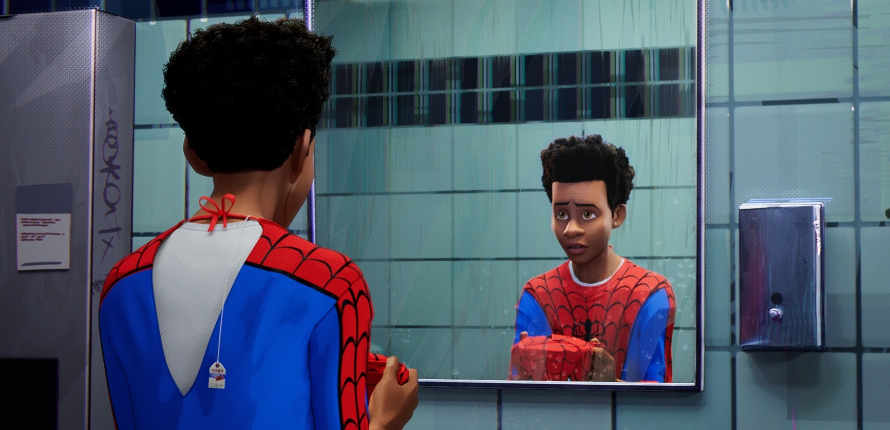 Miles Morales (voiced by Shameik Moore), inheritor of the Spider-Man costume in Spider-Man: Into the Spider-Verse (2018)