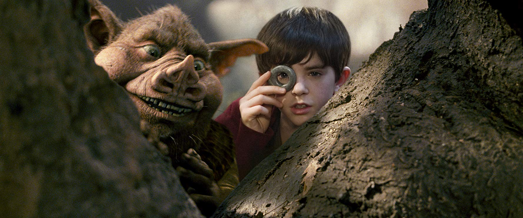 Freddie Highmore and the goblin Hogsqueal in The Spiderwick Chronicles (2008)