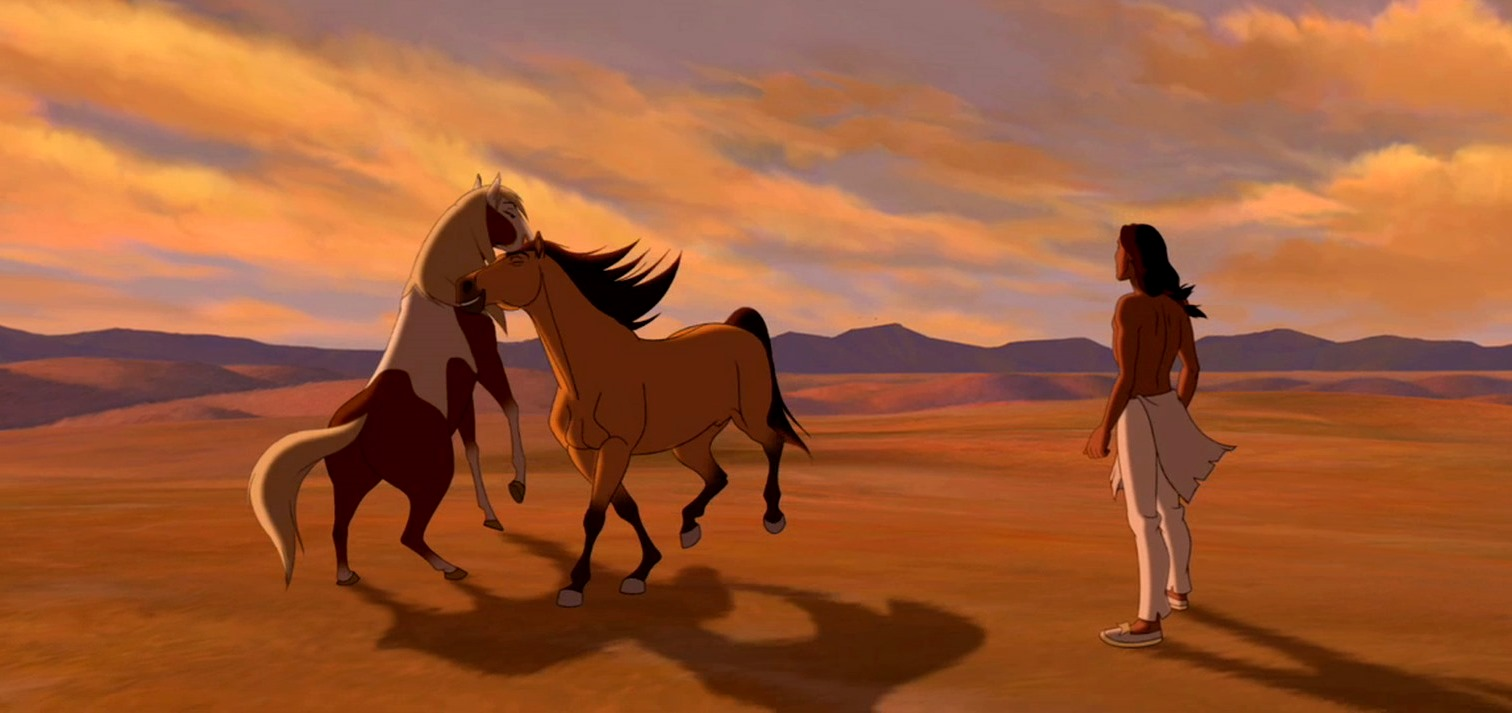 Rain and Spirit frolic while Little Creek looks on in Spirit: Stallion of the Cimarron (2002)