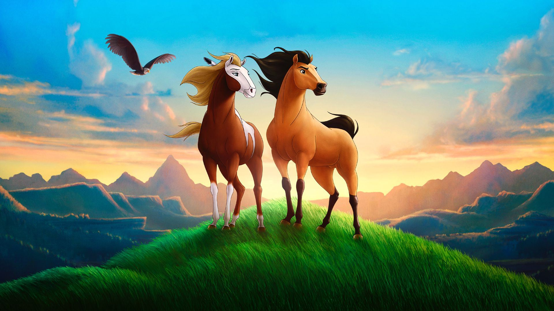 (l to r) The mare Rain and the stallion Spirit in Spirit: Stallion of the Cimarron (2002)