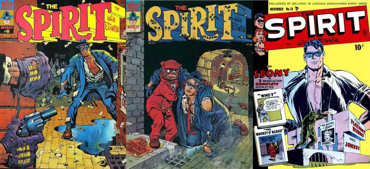 A selection of The Spirit comic-book covers (mostly taken from the Warren reprints in the 1960s)
