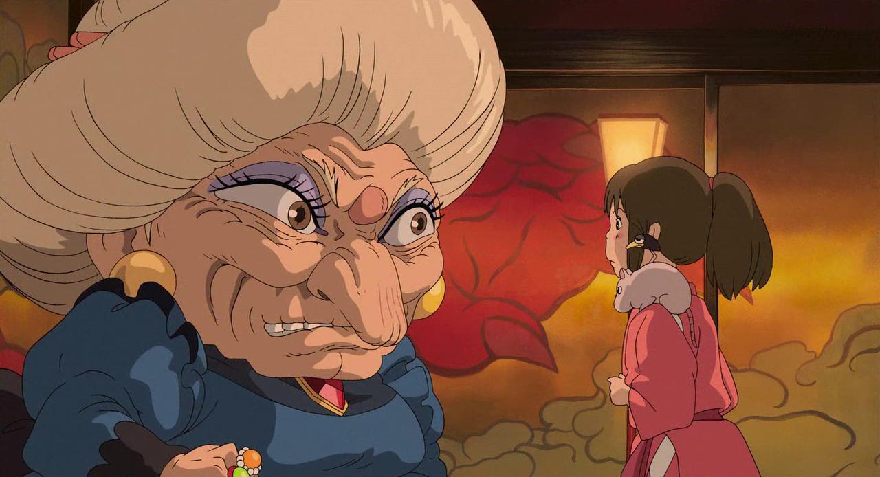 Chihiro and Yubaba in Spirited Away (2001)
