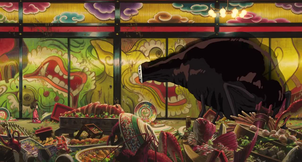 No-Face's rampage through the bathhouse in Spirited Away (2001)