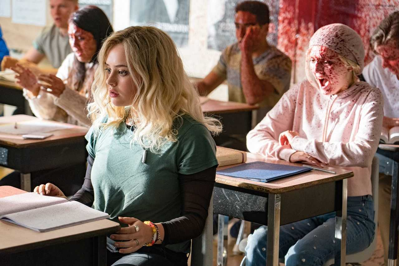 Katherine Langford in a class of exploding pupils in Spontaneous (2020)