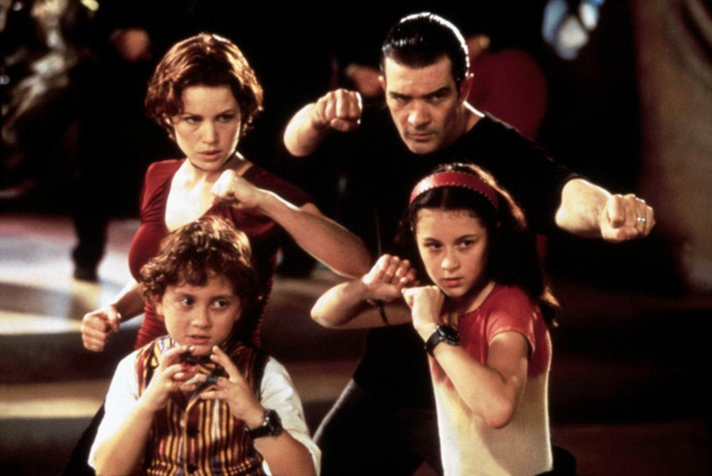The Cortez Family - (l to r) (back) Parents Carla Gugino, Antonio Banderas (front) the Spy Kids - Daryl Sabara, Alexa Vega in Spy Kids (2001)