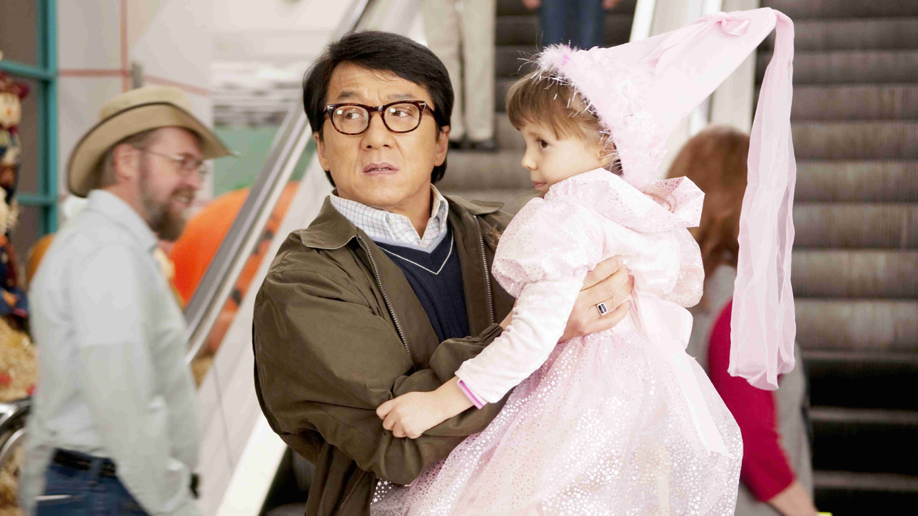 Jackie Chan in the comedy staple of the tough guy forced to look after kids in The Spy Next Door (2010)