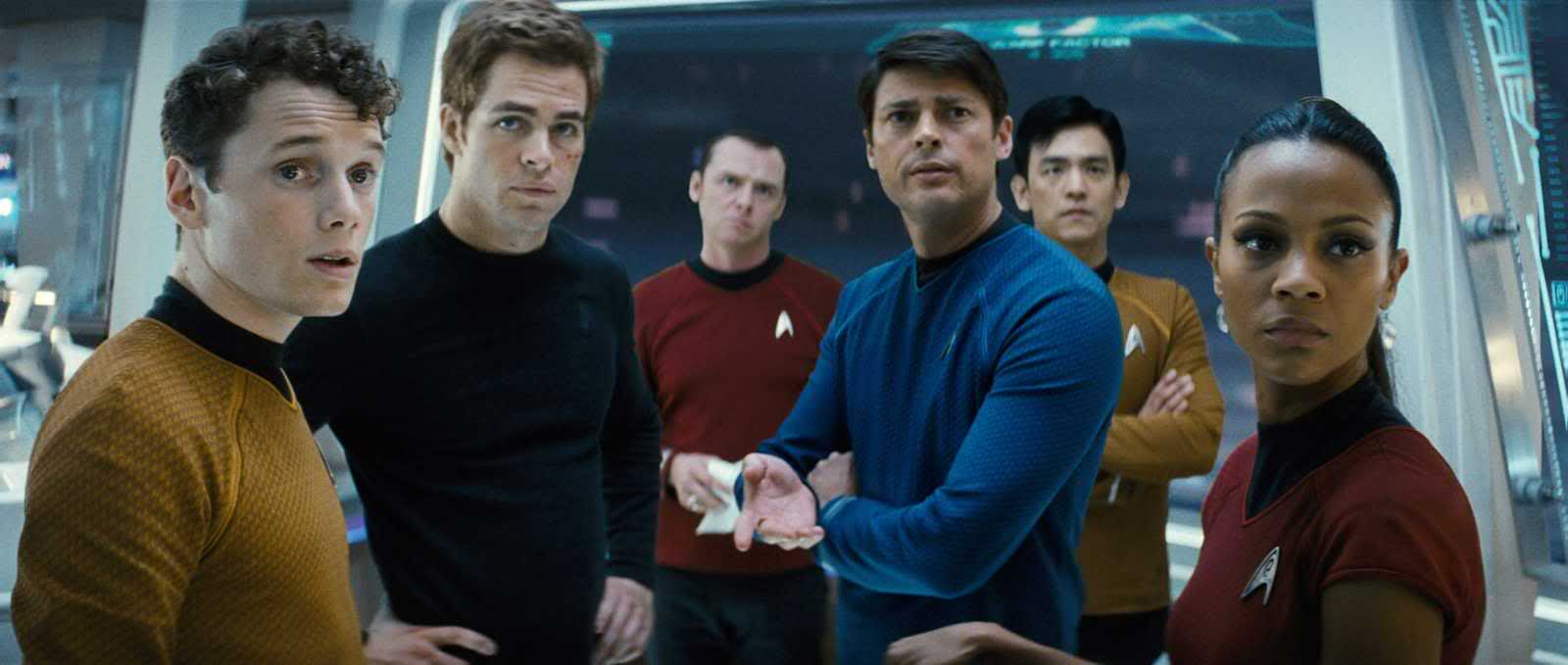 Chekov (Anton Yelchin), Captain Kirk (Chris Pine), Mr Scott (Simon Pegg), Dr McCoy (Karl Urban), Sulu (John Cho) and Uhura (Zoe Saldana) in Star Trek (2009)