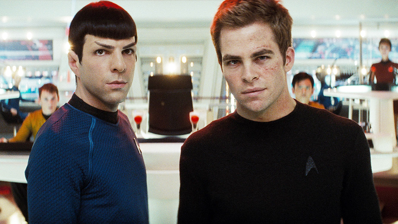 The younger versions of Mr Spock (Zachary Quinto) and Captain Kirk (Chris Pine) in Star Trek (2009)