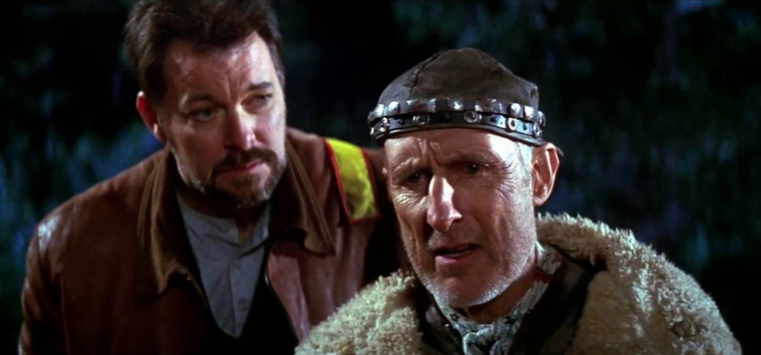 Will Riker (Jonathan Frakes who also directs the film) and Zefram Cochrane (James Cromwell), the inventor of the warp drive in Star Trek: First Contact (1996)