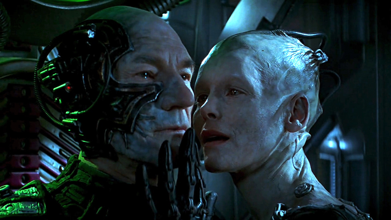 A Borgified Captain Picard (Patrick Stewart) and the Borg Queen (Alice Krige) in Star Trek: First Contact (1996)