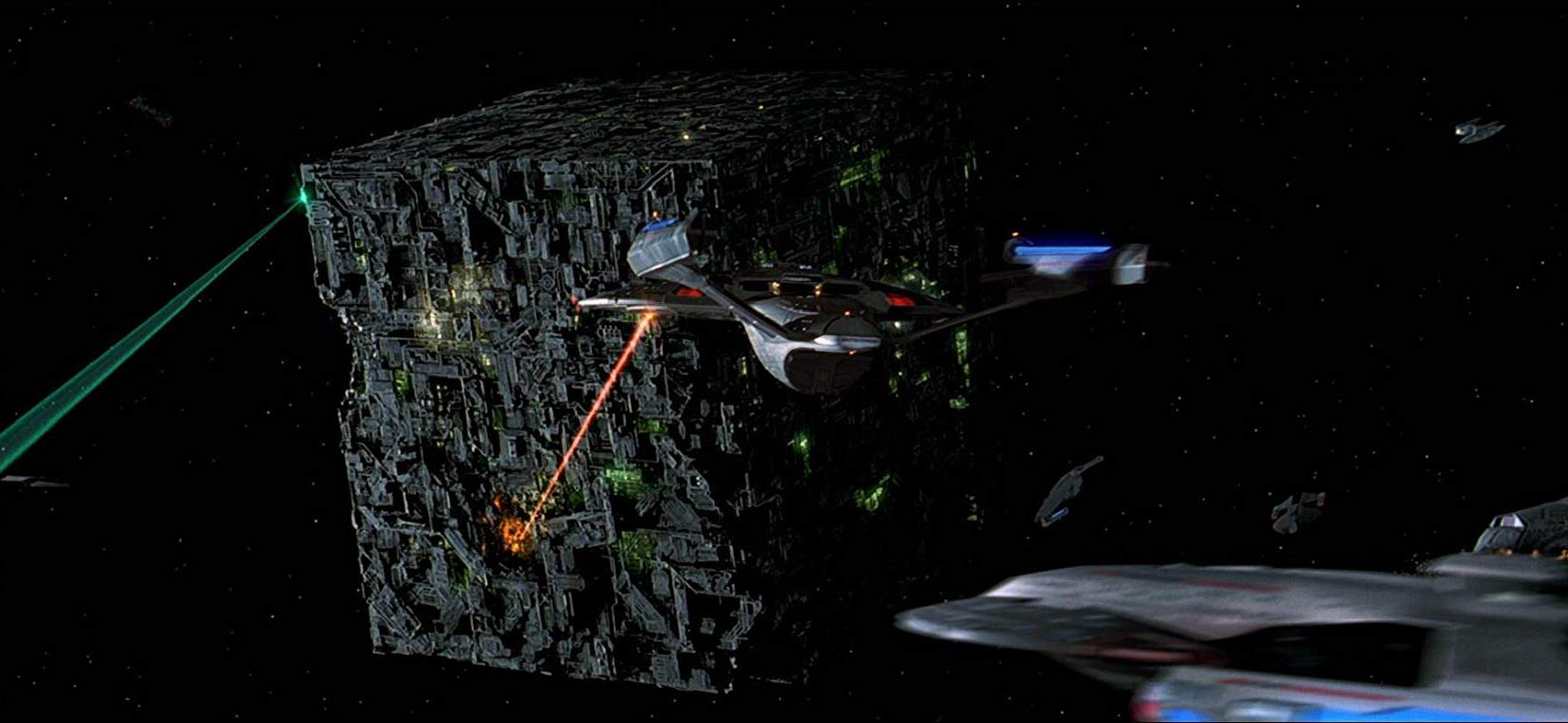 The Enterprise versus the Borg cube in Star Trek: First Contact (1996)