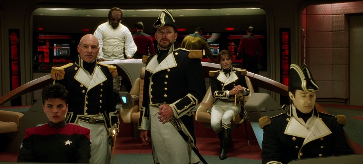 The Enterprise D bridge crew - Tracee Cocco, Captain Picard (Patrick Stewart), Worf (Michael Dorn), Commander Riker (Jonathan Frakes), Counselor Troi (Marina Sirtis) and Data (Brent Spiner) in Star Trek: Generations (1994)