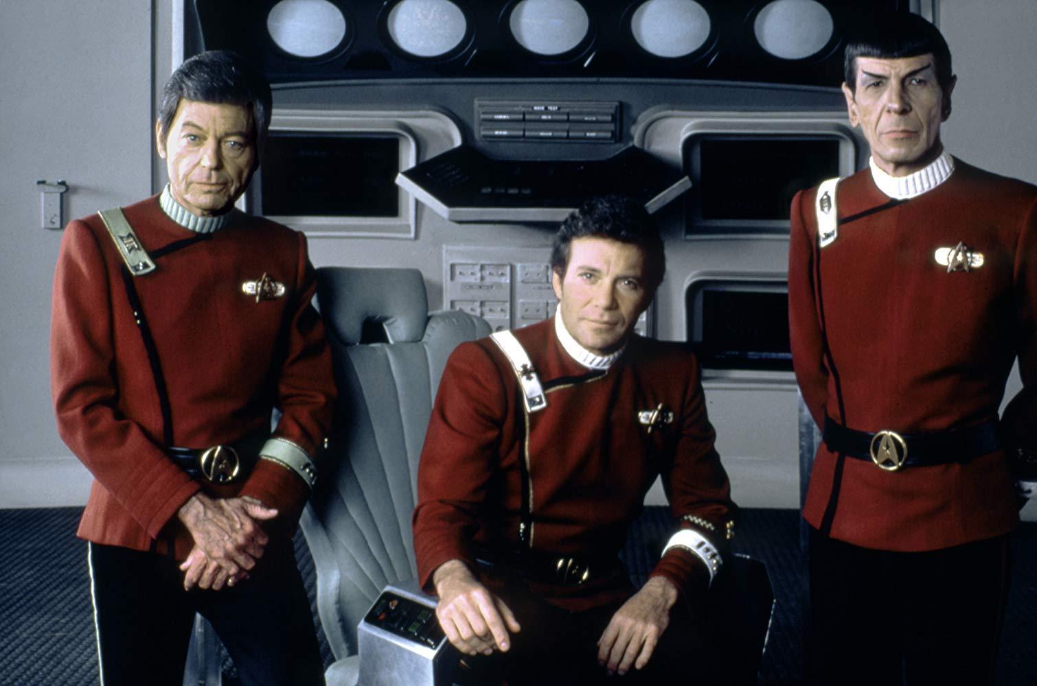 Dr McCoy (DeForest Kelley), Captain Kirk (William Shatner) and Mr Spock (Leonard Nimoy) in Star Trek II: The Wrath of Khan (1982)
