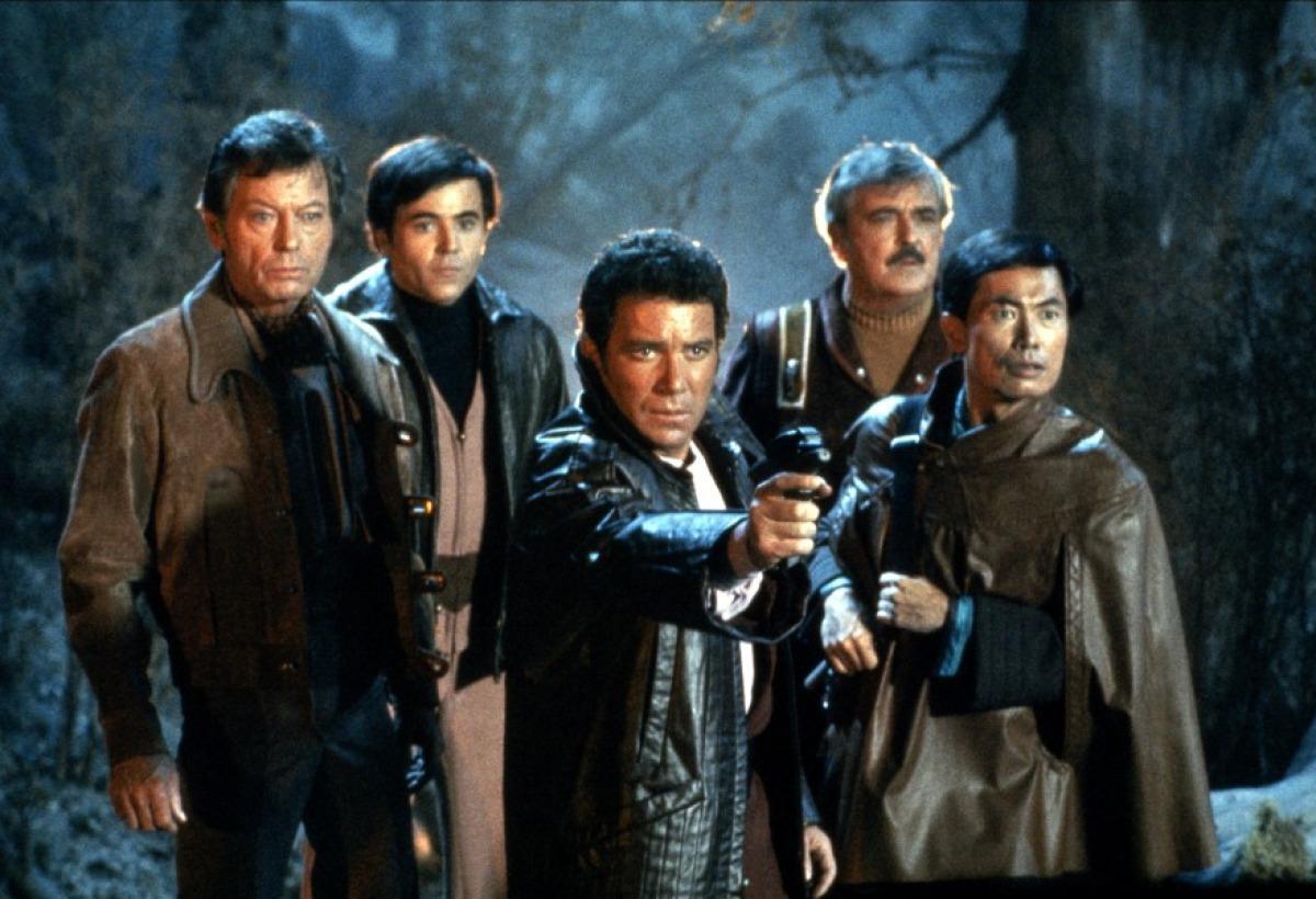The Enterprise crew on the Genesis World - Dr McCoy (DeForest Kelley), Chekov (Walter Koenig), Captain Kirk (William Shatner), Mr Scott (James Doohan) and Sulu (George Takei) in Star Trek III: The Search for Spock (1984)