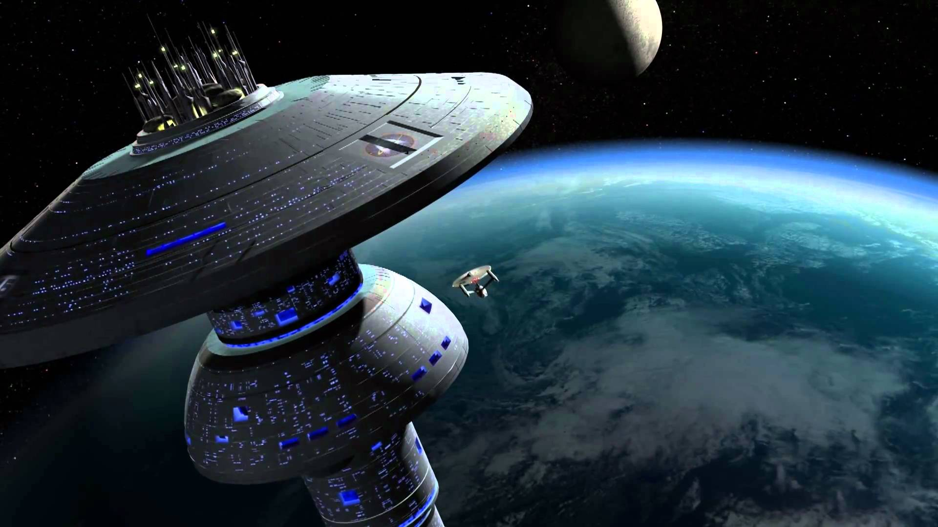 The Enterprise arrives at Spacedock in Star Trek III: The Search for Spock (1984)