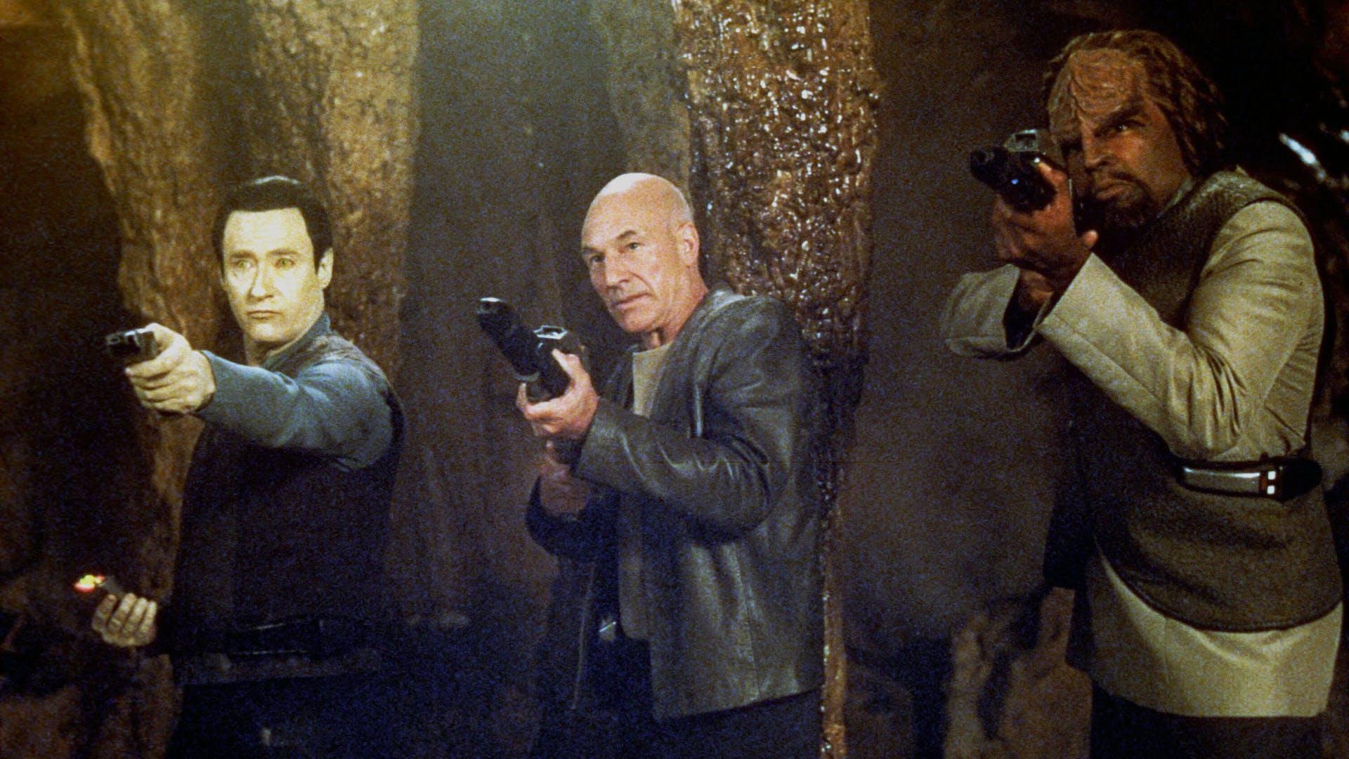 Data (Brent Spiner), Captain Picard (Patrick Stewart) and Worf (Michael Dorn) in Star Trek: Insurrection (1998)