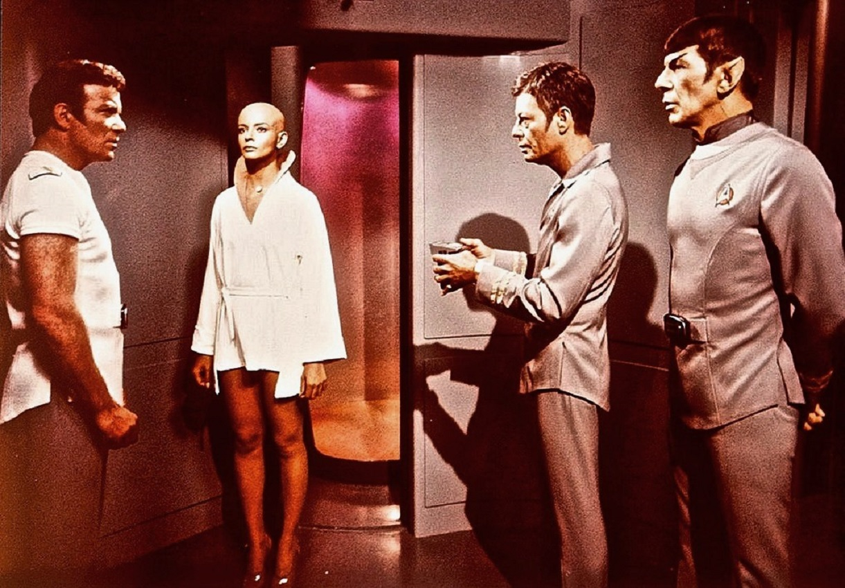 Admiral Kirk (William Shatner), the Ilia copy (Persis Khambatta), Dr McCoy (DeForest Kelley) and Spock (Leonard Nimoy) in Star Trek - The Motion Picture (1979)