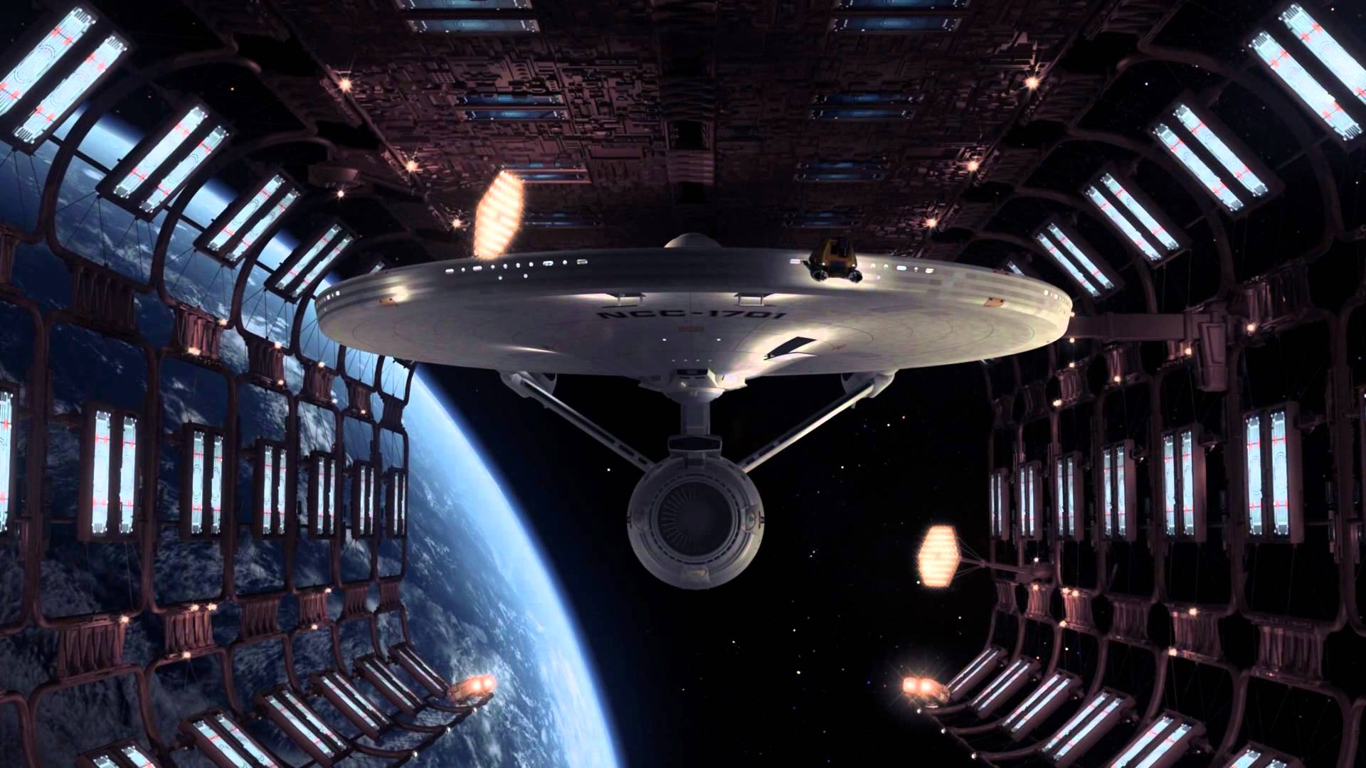 The newly refurbished Enterprise in spacedock in Star Trek - The Motion Picture (1979)