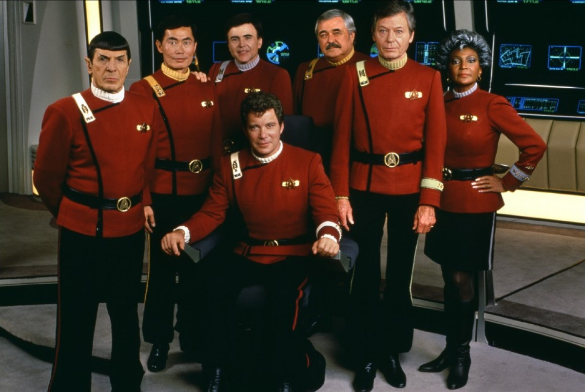 The Enterprise crew - Spock (Leonard Nimoy), Sulu (George Takei), Chekov (Walter Koenig), Mr Scott (James Doohan), Dr McCoy (DeForest Kelley), Uhura (Nichelle Nichols) and with Captain Kirk (William Shatner who also doubles as the director) in Star Trek V: The Final Frontier (1989)