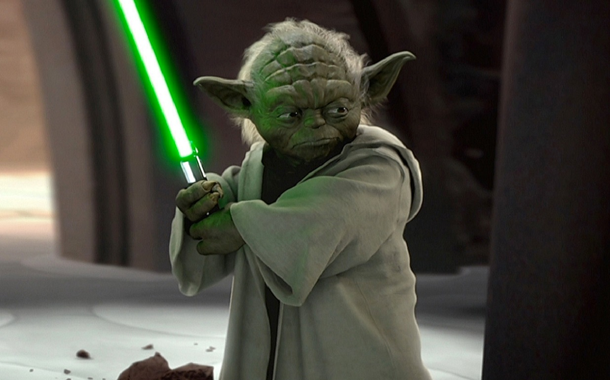 Yoda getting into action with lightsabre in Star Wars Episode II Attack of the Clones (2002) 5