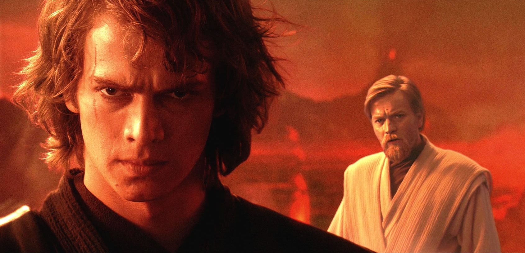 Anakin Skywalker (Hayden Christensen) and Obi-wan Kenobi (Ewan McGregor) in Star Wars Episode III Revenge of the Sith (2005)