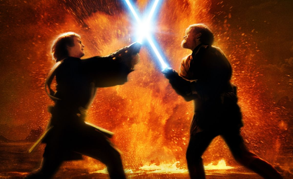 Duel between Anakin Skywalker (Hayden Christensen) and Obi-wan Kenobi (Ewan McGregor) in Star Wars Episode III Revenge of the Sith (2005) 13