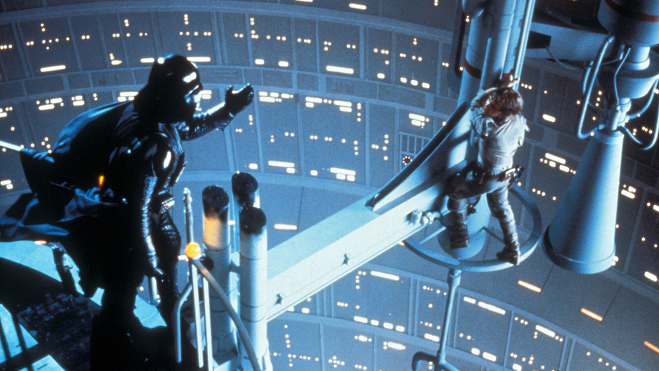Showdown between Darth Vader (Dave Prowse) and Luke Skywaker (Mark Hamill) in Star Wars Episode V The Empire Strikes Back (1980) 1