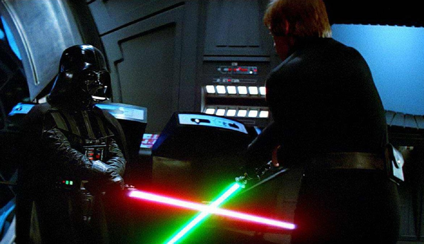 Final showdown between Darth Vader (Dave Prowse) and Luke Skywalker (Mark Hamill) in Star Wars Episode VI Return of the Jedi (1983)