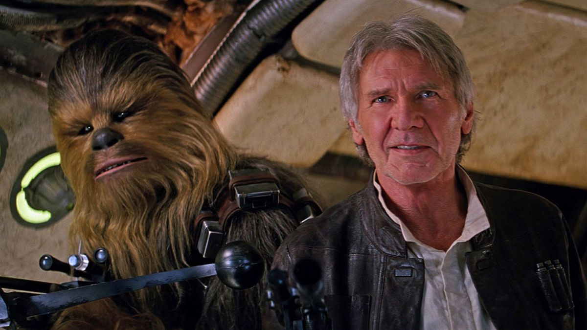 Chewnbacca (Peter Mayhew) and Han Solo (Harrison Ford) in Star Wars Episode VII The Force Awakens (2015)