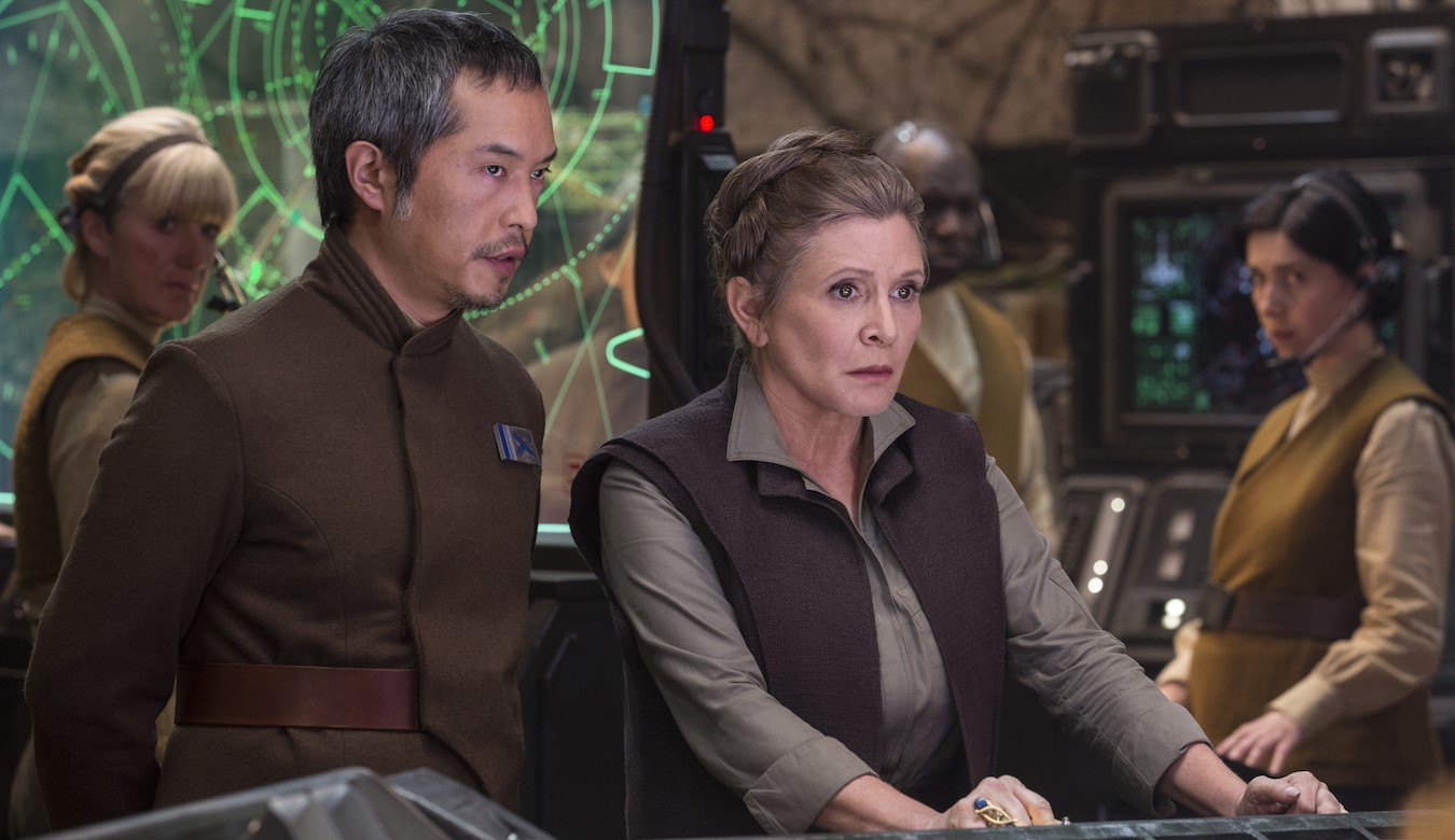The return of Carrie Fisher as Princess Leia in Star Wars Episode VII The Force Awakens (2015)